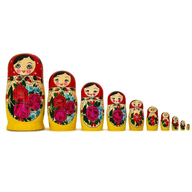 Set of 10 Unpainted Unfinished Wooden Russian Nesting Dolls 10.5 Inches