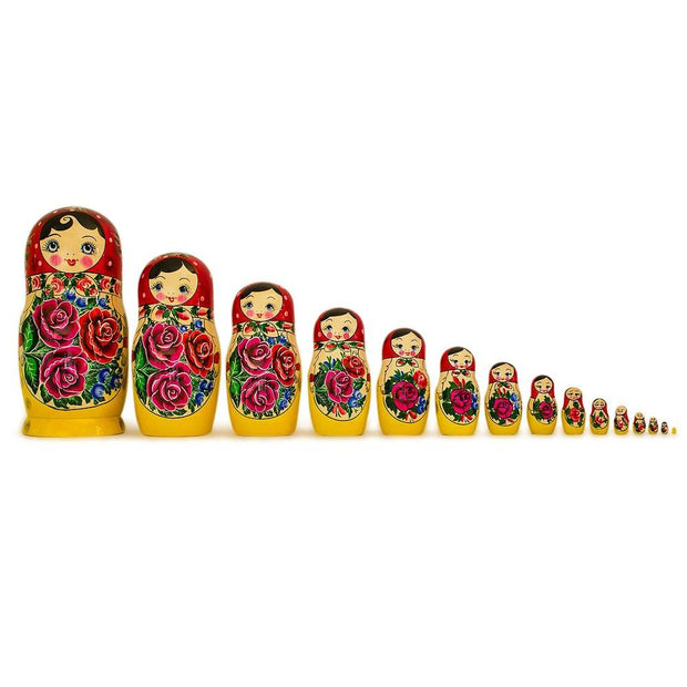 15 Semyonov XL Traditional Wooden Russian Nesting Dolls Matryoshka 12 Inches by BestPysanky