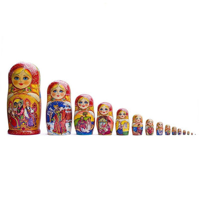 Set of 15 Fairy Tales Wooden Matryoshka Russian Nesting Dolls 13 Inches by BestPysanky