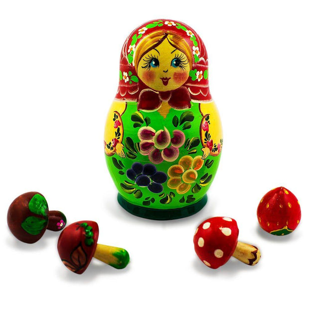 The Girl with 4 Mushrooms Wooden Russian Nesting Doll 5 Inches by BestPysanky