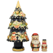 Christmas Tree, Snowman and Santa Wooden Nesting Doll Figurines 5.5 Inches by BestPysanky