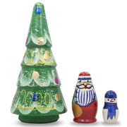 Christmas Tree, Santa and Snowman Wooden Russian Nesting Doll Figurines 5 Inches by BestPysanky