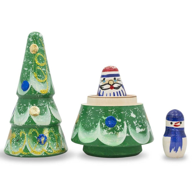 Buy Online Gift Shop Christmas Tree, Santa and Snowman Wooden Russian Nesting Doll Figurines 5 Inches