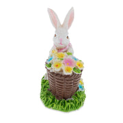 Bunny with Easter Basket full of Flowers 3 Inches