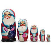 Set of 5 Santa Claus with Gifts Wooden Nesting Dolls 6 Inches by BestPysanky