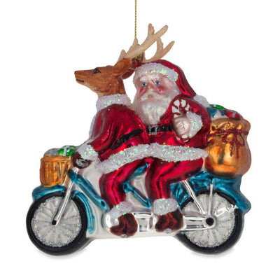 Santa and Reindeer Riding a Motorcycle Glass Christmas Ornament by BestPysanky