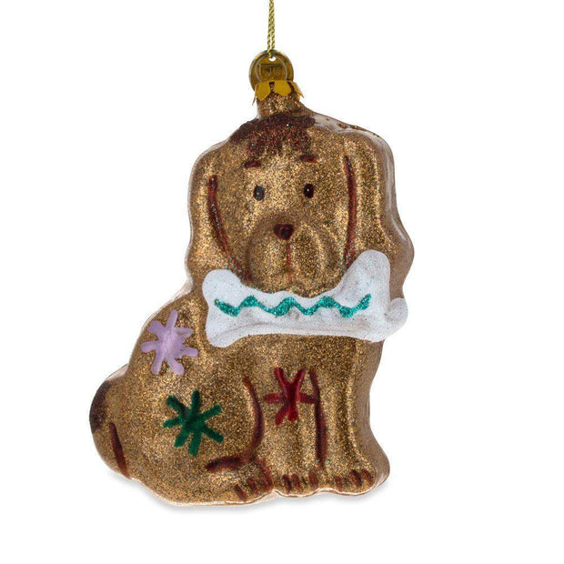 Glitter Spaniel Dog with a Bone Glass Christmas Ornament 4.4 Inches by BestPysanky