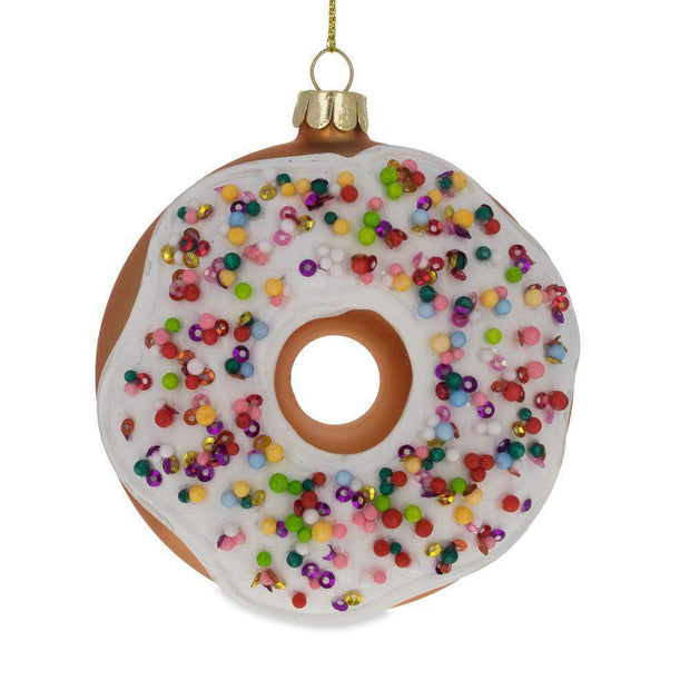 Doughnut Glass Christmas Ornament 3.8 Inches by BestPysanky