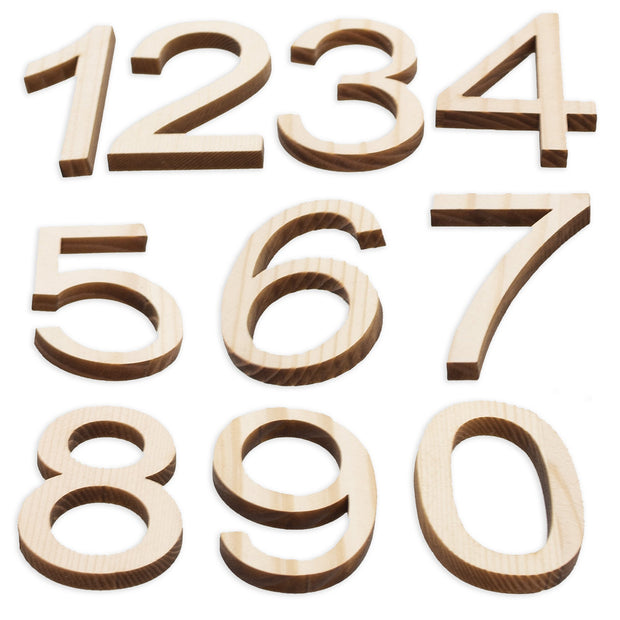 Set of 10 Unfinished Wooden Numbers (1.75 Inches) by BestPysanky