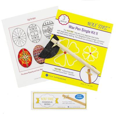Medium Tip #2 Wooden Handle Kistka, Beeswax and Instructions Egg Decorating Kit by BestPysanky