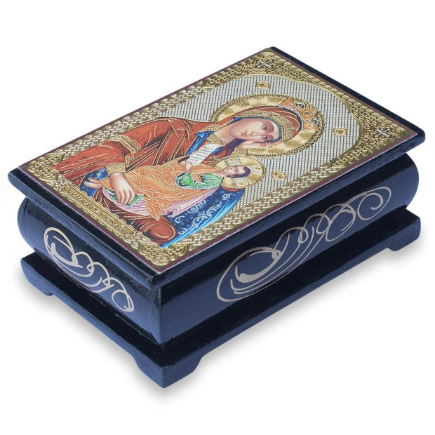 Mary Holding Jesus Icon Wooden Rosary Box by BestPysanky