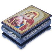Virgin Mary with Jesus Russian Icon Wooden Rosary Box - Keepsake Box by BestPysanky