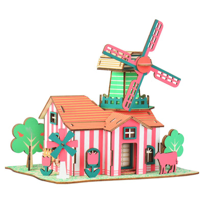 Windmill Model Kit - Wooden Laser-Cut 3D Puzzle (82 Pcs) by BestPysanky