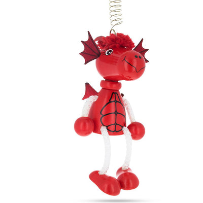 Jumping Red Dragon Wooden Doll on a Spring 5.7 Inches by BestPysanky