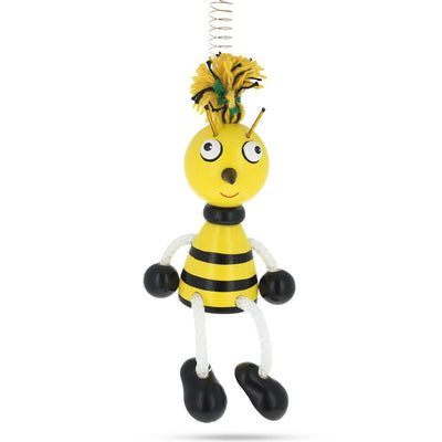 Jumping Bee Wooden Doll on a Spring 6 Inches by BestPysanky