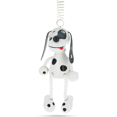 Jumping Dalmatian Dog Wooden Doll on a Spring 5.7 Inches by BestPysanky