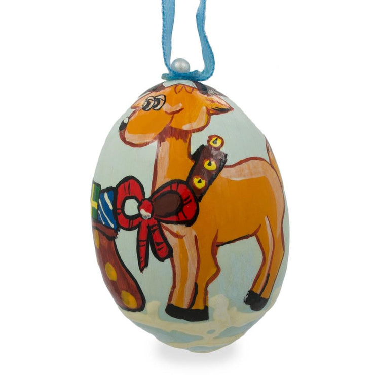 Reindeer and Bag of Gifts Wooden Christmas Ornament 3 Inches by BestPysanky