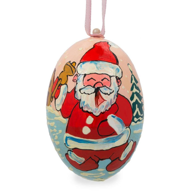Santa Ringing Bell with Dog Wooden Christmas Ornament 3 Inches by BestPysanky