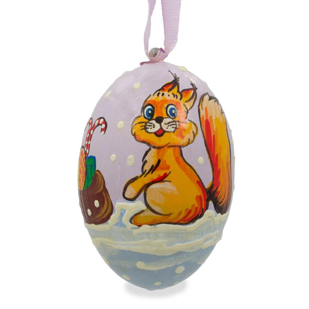 Squirrel, Candy Cane and Gifts Wooden Christmas Ornament 3 Inches by BestPysanky