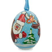Santa and Rudolf the Reindeer Wooden Christmas Ornament 3 Inches by BestPysanky