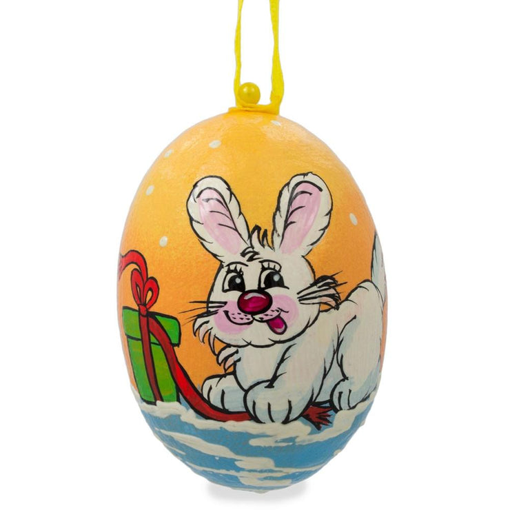 Bunny with Gift Wooden Christmas Ornament 3 Inches by BestPysanky