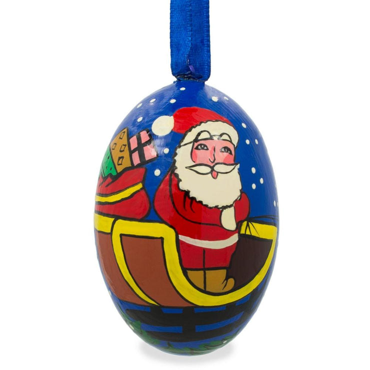 Santa Riding Sleigh with Gifts Wooden Christmas Ornament 3 Inches by BestPysanky