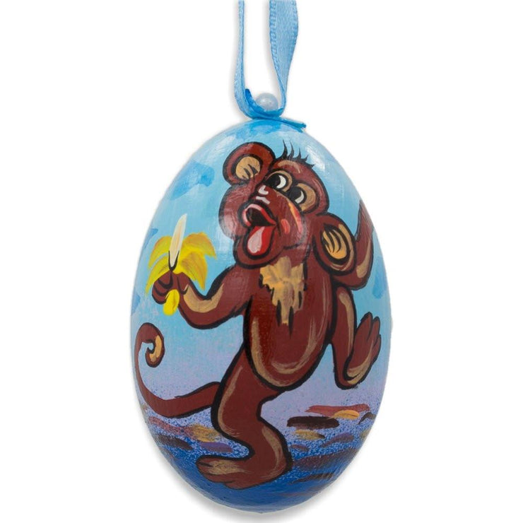 Monkey Eating Banana Animal Wooden Christmas Ornament 3 Inches by BestPysanky