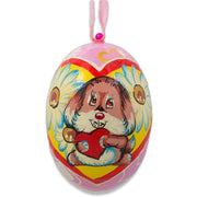 Cute Puppy Dog with Heart Wooden Christmas Ornament 3 Inches by BestPysanky