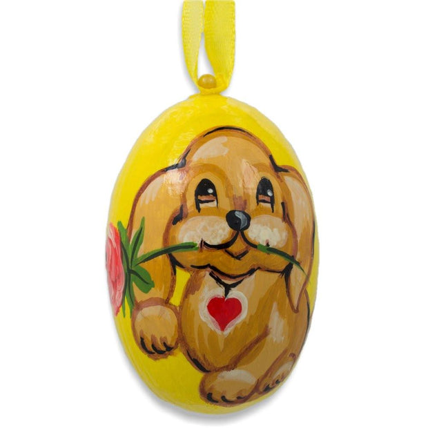 Yellow Labrador Dog with Flower Wooden Christmas Ornament 3 Inches by BestPysanky