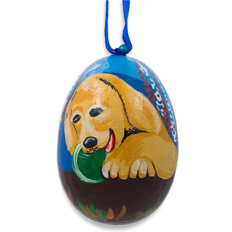 Yellow Labrador Dog with Ball Wooden Christmas Ornament 3 Inches by BestPysanky