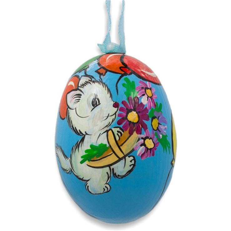 Cat with Balloon and Flowers Wooden Christmas Ornament 3 Inches by BestPysanky