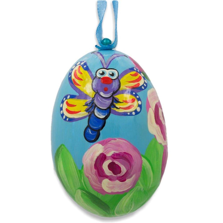 Butterfly in Garden by Roses Wooden Christmas Ornament 3 Inches by BestPysanky
