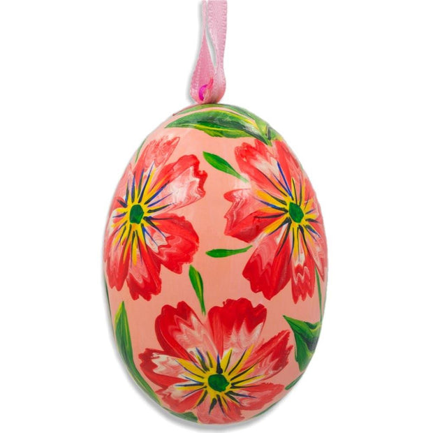 Red Flowers Wooden Egg Easter Ornament 3 Inches by BestPysanky