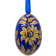 Golden Flowers on Blue Wooden Egg Easter Ornament 3 Inches by BestPysanky