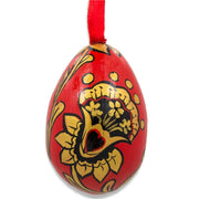 Russian Khokhloma Golden Flowers Wooden Egg Easter Ornament 3 Inches by BestPysanky
