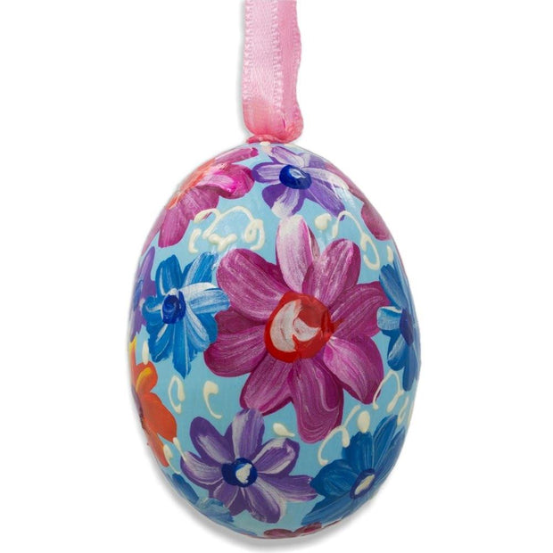 Purple and Orange Flowers on Blue Wooden Egg Easter Ornament 3 Inches by BestPysanky