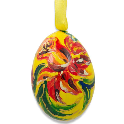 Red Flower on Yellow Wooden Egg Easter Ornament 3 Inches by BestPysanky