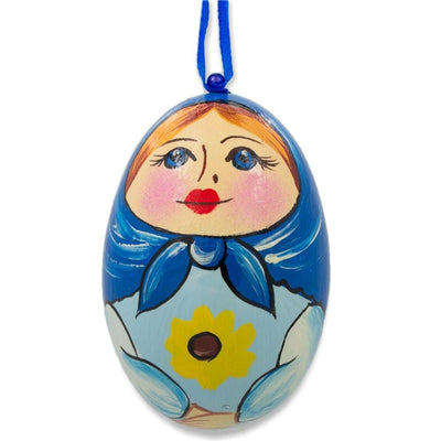 Russian Nesting Doll Matryoshka Blue Scarf Wooden Egg Ornament 3 Inches by BestPysanky