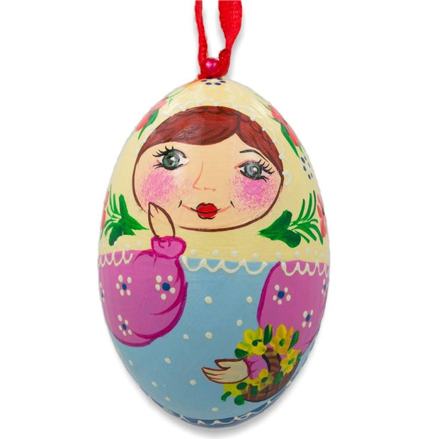 Russian Nesting Doll Matryoshka Floral Scarf Wooden Egg Ornament 3 Inches by BestPysanky