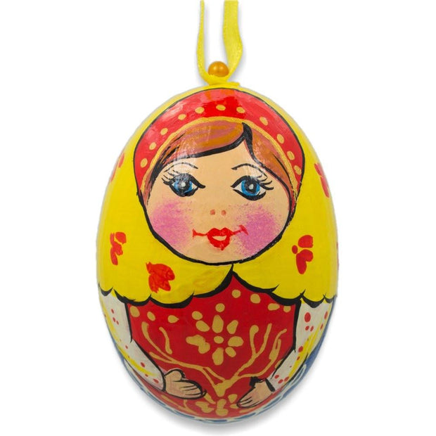 Russian Nesting Doll Matryoshka Wooden Egg Ornament 3 Inches by BestPysanky