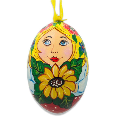 Russian Nesting Doll with Sunflower Matryoshka Wooden Egg Ornament 3 Inches by BestPysanky