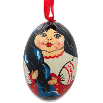 Ukrainian Doll in Embroidered Blouse Vyshyvanka Wooden Egg Ornament 3 Inches by BestPysanky