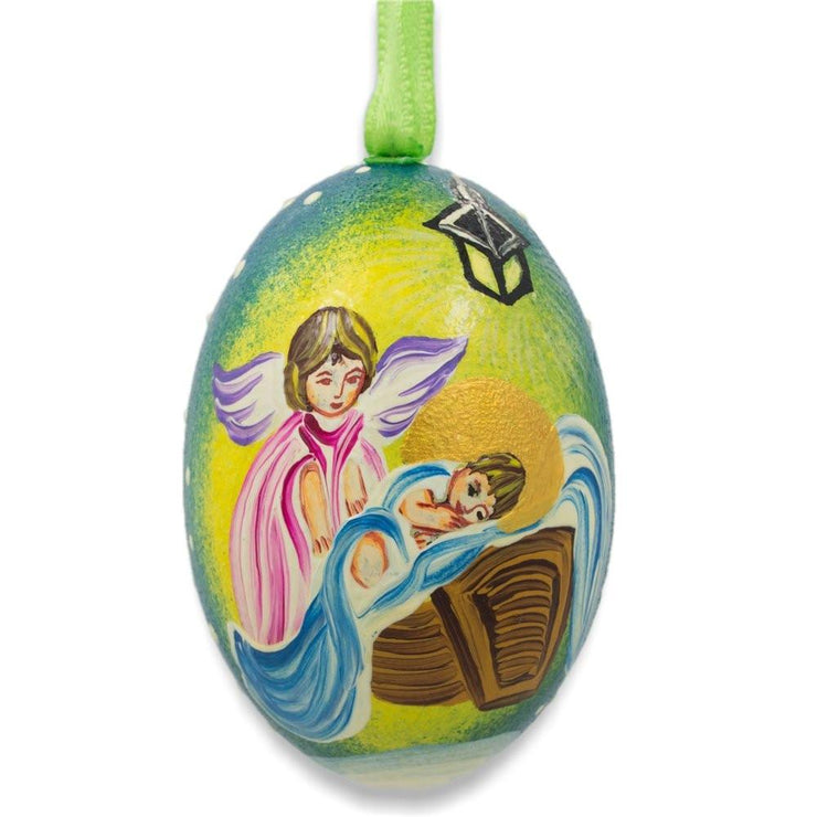 Angel Overlooking Baby Jesus Wooden Christmas Ornament 3 Inches by BestPysanky