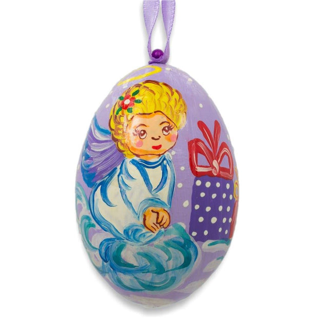 Angel on Cloud with Gift Wooden Christmas Ornament 3 Inches by BestPysanky