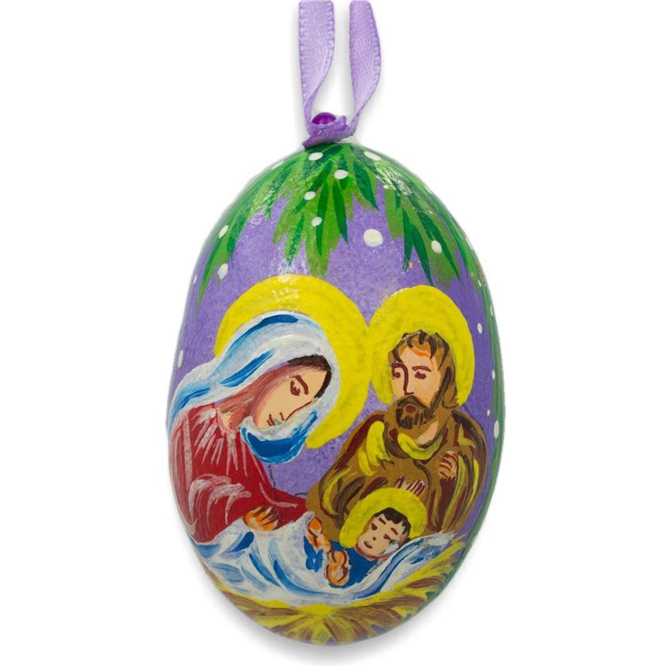 Mary and Joseph Overlooking Jesus Wooden Christmas Ornament 3 Inches by BestPysanky