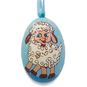 Smiling Lamb Wooden Christmas Ornament 3 Inches by BestPysanky