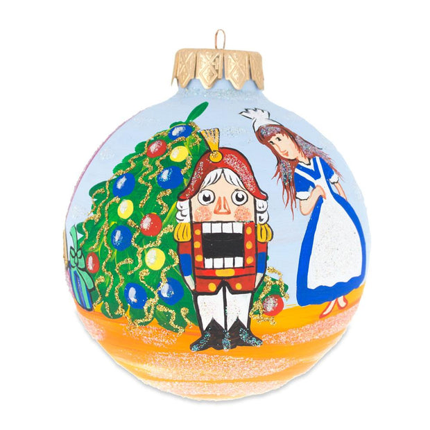 Nutcracker and Marie by Christmas Tree Glass Ball Ornament 3.25 Inches by BestPysanky
