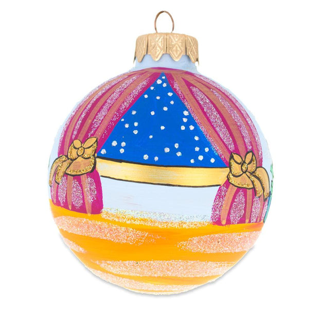 Nutcracker and Marie by Christmas Tree Glass Ball Ornament 3.25 Inches