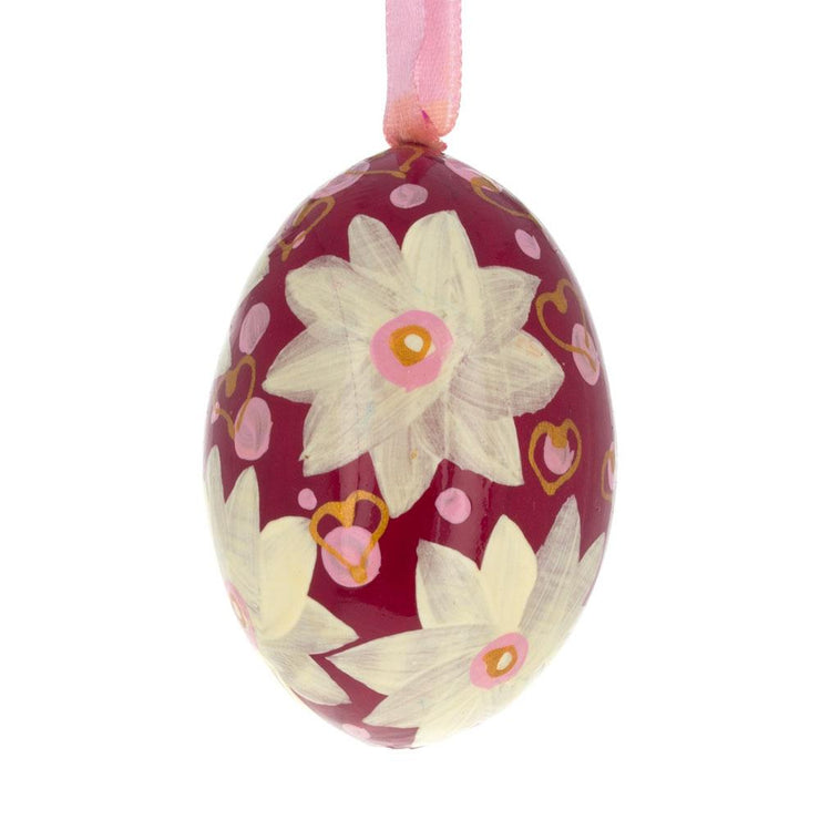 White Flowers on Red Wooden Egg Easter Ornament 3 Inches by BestPysanky