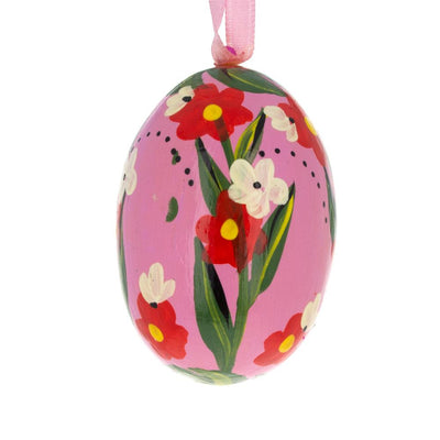 Red Flowers on Pink Egg Wooden Egg Easter Ornament 3 Inches by BestPysanky
